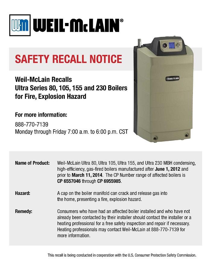 Ultra Gas Recall | Weil-McLain